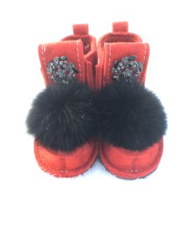 Валеши красные с черным натуральным мехом