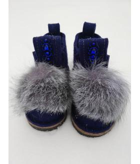 Валери т/синие с натуральным мехом чернобурка