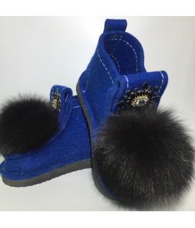 Валеши синие с черным натуральным мехом