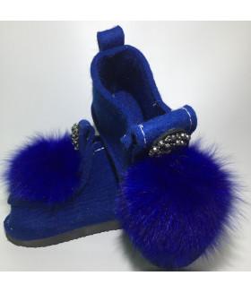 Валеши синие с синим натуральным мехом